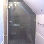 Angled Custom Shower installation, Fort St. John, BC