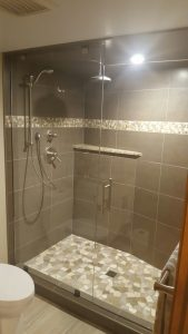 10mm Clear Tempered Glass Shower installation with Brushed Nickel Hardware