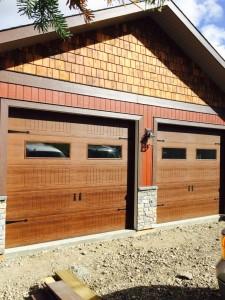 Elite Series Mahogany Overhead doors installed