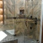 90 Degree Custom Frameless Shower with Oil Rubbed Bronze Hardware