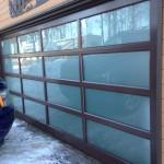 Steel-Craft Black Esteem Series door with Satin Etch Glass