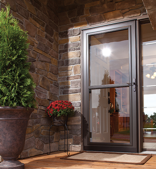 Retractable screens storm doors alpine glass windows doors for Pull down retractable screen door