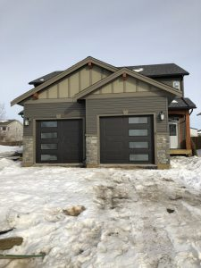 Steel-Craft Charcoal RC16 doors with Satin Etch Glass installed in Fort St. John, BC